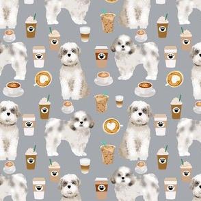 shih tzu coffee fabric cute toy breeds dog fabric - grey