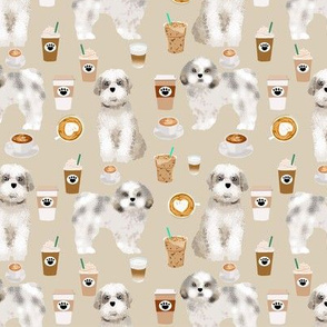 shih tzu coffee fabric cute toy breeds dog fabric - khaki