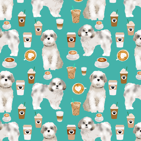 shih tzu coffee fabric cute toy breeds dog fabric - turquoise fabric by petfriendly on Spoonflower - custom fabric