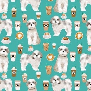 shih tzu coffee fabric cute toy breeds dog fabric - turquoise
