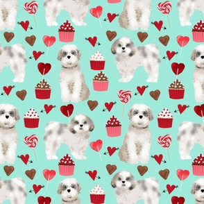 shih tzu valentines day fabric best dog loves fabric - aqua