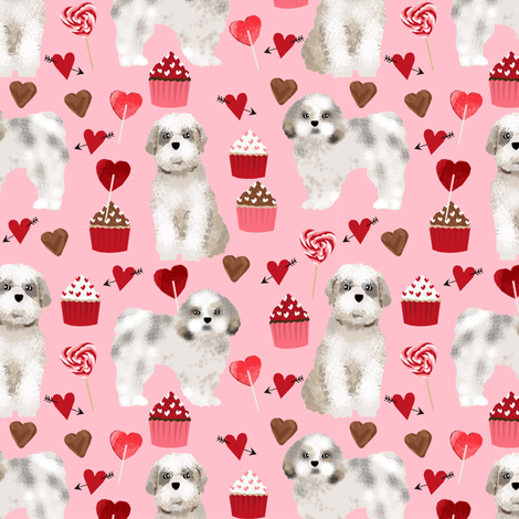 shih tzu valentines day fabric best dog loves fabric - blossom pink fabric by petfriendly on Spoonflower - custom fabric