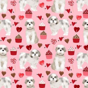 shih tzu valentines day fabric best dog loves fabric - blossom pink