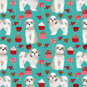 shih tzu valentines day fabric best dog loves fabric - turquoise