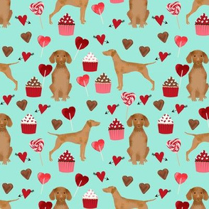 vizsla valentines day love fabric best dogs design - aqua