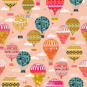 hot air balloons // pink half -size smaller hot air balloons fabric cute nursery baby fabric