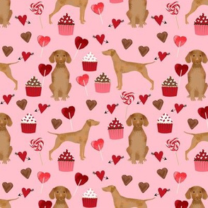 vizsla valentines day love fabric best dogs design - blossom pink