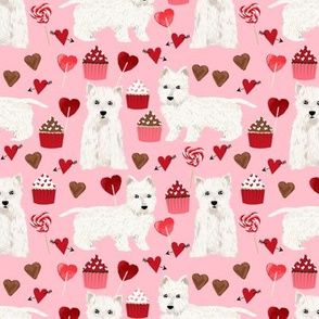westie valentines day love fabric best dogs design - blossom pink