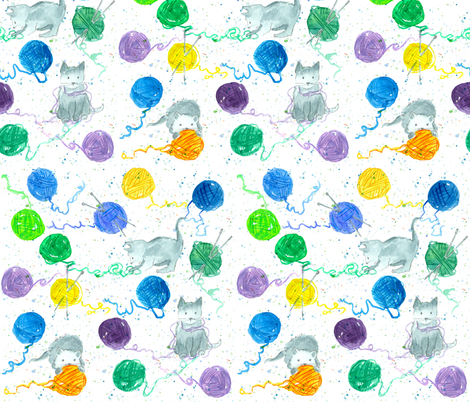 Yarn and Kittens fabric by countrygarden on Spoonflower - custom fabric