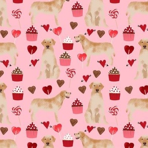 labrador fabric  yellow lab valentines day love fabric - blossom pink