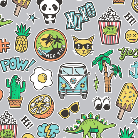 Patches Stickers 90s Summer Doodle Cactus, Panda, Cats, Ice Cream, Palm Tree, Camper Van on Grey fabric by caja_design on Spoonflower - custom fabric