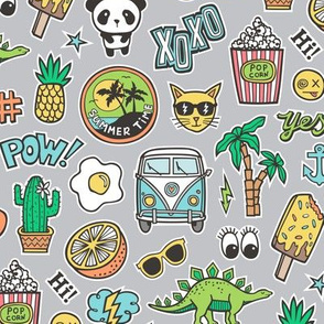 Patches Stickers 90s Summer Doodle Cactus, Panda, Cats, Ice Cream, Palm Tree, Camper Van on Grey