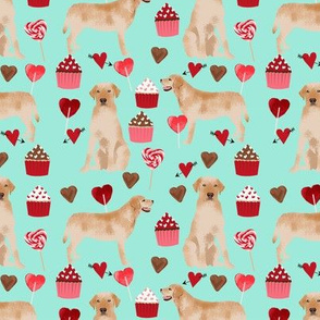 labrador fabric  yellow lab valentines day love fabric - aqua