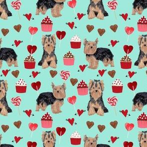 yorkie valentines day fabric yorkshire terrier love design - aqua