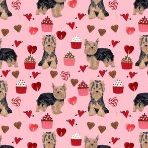yorkie valentines day fabric yorkshire terrier love design - pink