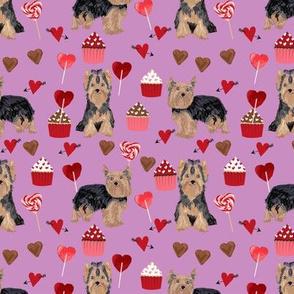 yorkie valentines day fabric yorkshire terrier love design - purple