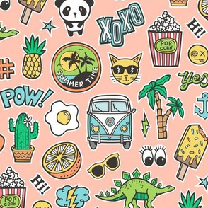Patches Stickers 90s Summer Doodle Cactus, Panda, Cats, Ice Cream, Palm Tree, Camper Van on Peach