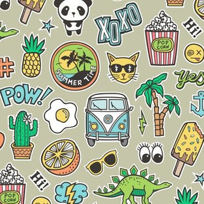 Patches Stickers 90s Summer Doodle Cactus, Panda, Cats, Ice Cream, Palm Tree, Camper Van on  Green