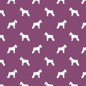 schnauzer silhouette fabric dogs fabric - amethyst