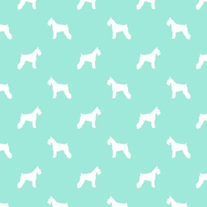 schnauzer silhouette fabric dogs fabric - aqua