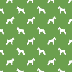 schnauzer silhouette fabric dogs fabric - asparagus