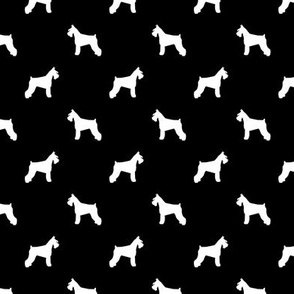 schnauzer silhouette fabric dogs fabric - black