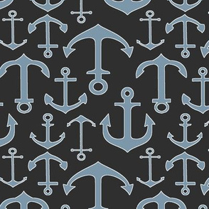 Blue-Grey Anchors // Charcoal // Nautical Collection