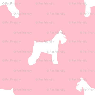 schnauzer silhouette fabric dogs fabric - blossom pink