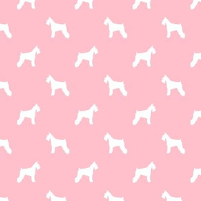 schnauzer silhouette fabric dogs fabric - blossom pink