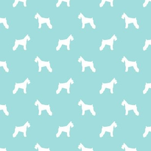 schnauzer silhouette fabric dogs fabric - blue tint