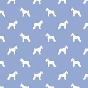 schnauzer silhouette fabric dogs fabric - cerulean