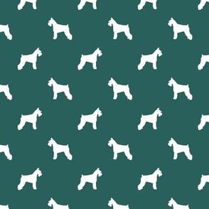 schnauzer silhouette fabric dogs fabric - eden green