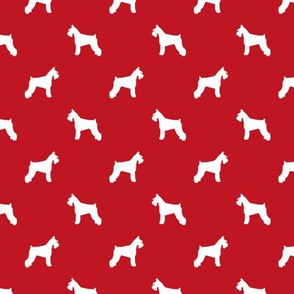 schnauzer silhouette fabric dogs fabric - fire red