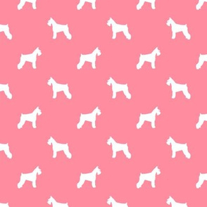 schnauzer silhouette fabric dogs fabric - flamingo pink
