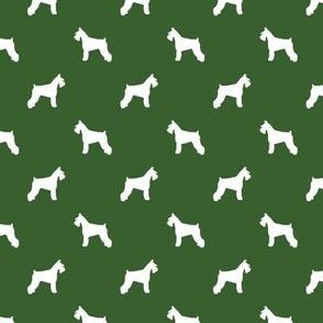 schnauzer silhouette fabric dogs fabric - garden green