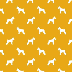 schnauzer silhouette fabric dogs fabric - goldenrod