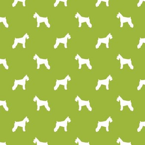 schnauzer silhouette fabric dogs fabric - lime green