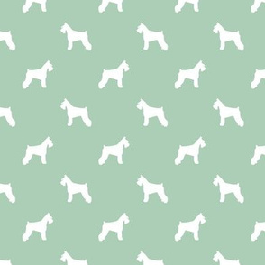 schnauzer silhouette fabric dogs fabric - mint green