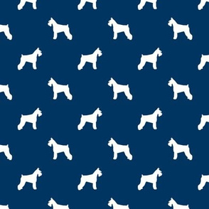 schnauzer silhouette fabric dogs fabric - navy