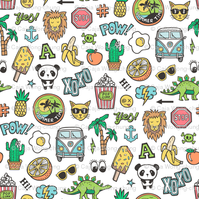 Patches Stickers 90s Summer Doodle Cactus, Panda, Cats, Ice Cream, Palm Tree, Camper Van on White