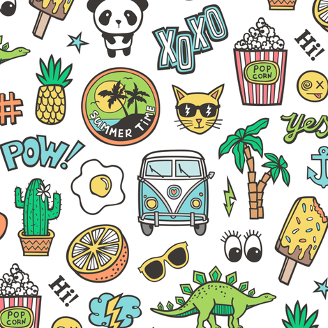 Patches Stickers 90s Summer Doodle Cactus, Panda, Cats, Ice Cream, Palm Tree, Camper Van on White fabric by caja_design on Spoonflower - custom fabric