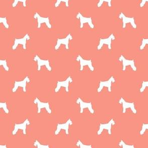 schnauzer silhouette fabric dogs fabric - peach