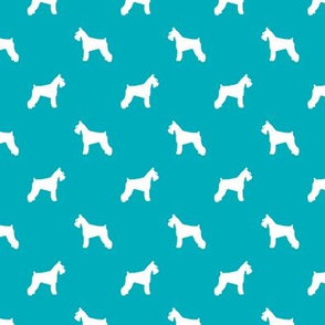 schnauzer silhouette fabric dogs fabric - peacock