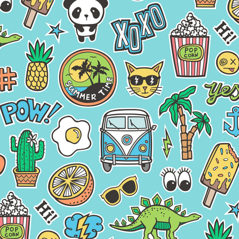Patches Stickers 90s Summer Doodle Cactus, Panda, Cats, Ice Cream, Palm Tree, Camper Van on Blue fabric by caja_design on Spoonflower - custom fabric