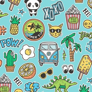 Patches Stickers 90s Summer Doodle Cactus, Panda, Cats, Ice Cream, Palm Tree, Camper Van on Blue