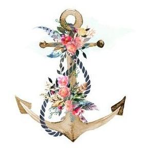 """6"""" Boho Floral Anchor"""