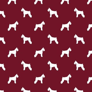 schnauzer silhouette fabric dogs fabric - ruby