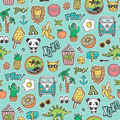 Patches Stickers 90s Summer Doodle Cactus, Panda, Cats, Ice Cream, Palm Tree, Camper Van on Mint Green