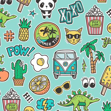 Patches Stickers 90s Summer Doodle Cactus, Panda, Cats, Ice Cream, Palm Tree, Camper Van on Mint Green fabric by caja_design on Spoonflower - custom fabric