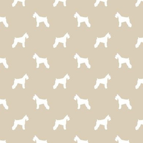 schnauzer silhouette fabric dogs fabric - sand